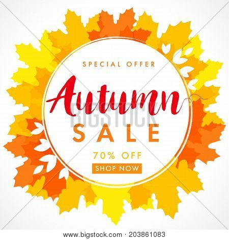 Autumn sale 70% off in seasonal frame on orange maple leaves vector background for card, banner and poster template. Autumn sale in frame on orange maple leaves banner