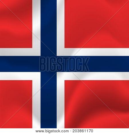 Norway waving flag. Waving flag. Vector illustration.