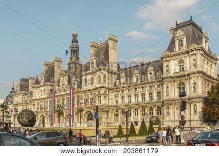 View with Hotel-de-Ville Paris City Hall building on August 26 2017 in Paris France.