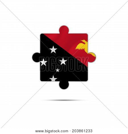Isolated piece of puzzle with the Papua New Guinea flag. Vector illustration.