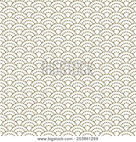 Japanese wave dotted traditional vector seamless pattern in gold line color style. Japan inspired floral design.