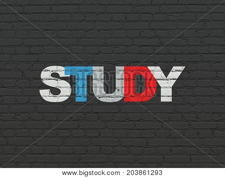 Studying concept: Painted multicolor text Study on Black Brick wall background