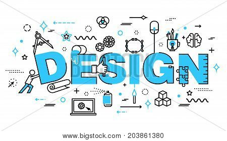 Modern flat thin line design vector illustration concept of design process and web development for graphic and web design