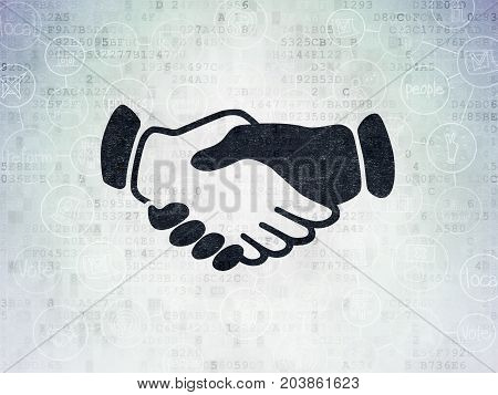 Politics concept: Painted black Handshake icon on Digital Data Paper background with Scheme Of Hand Drawn Politics Icons