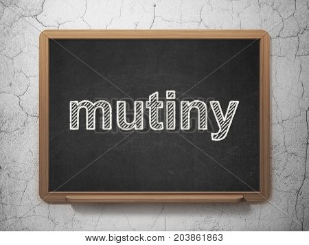 Political concept: text Mutiny on Black chalkboard on grunge wall background, 3D rendering