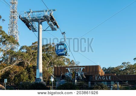 Dromana, Australia - September 10, 2017: Eagle Skylift Arthurs Seat is an enclosed gondola running up to Arthurs Seat. It opened in 2016 and is a popular tourist attraction.