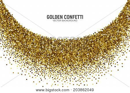 Vector Scattered Golden Confetti in Abstract Bend Shape Isolated on White Background 3D Illustration. Slapstick Paper Round Gold Bright Particles. Graphic Design Template