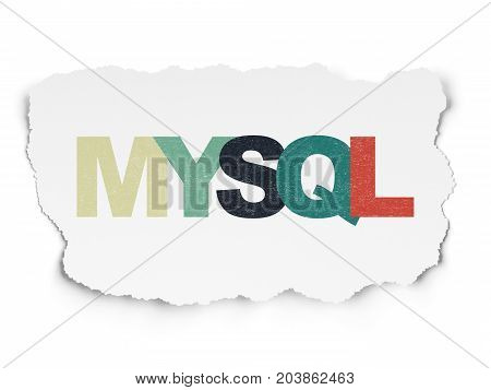 Programming concept: Painted multicolor text MySQL on Torn Paper background