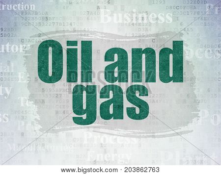 Industry concept: Painted green text Oil and Gas on Digital Data Paper background with   Tag Cloud