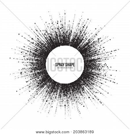 Radial Scatter Abstract Vector Round Particles on White Background. Exploding Effect. Hand Made Texture Grunge Art Illustration