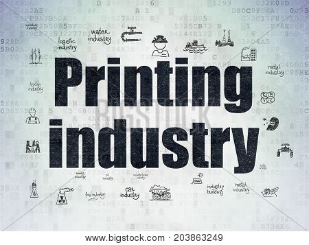 Industry concept: Painted black text Printing Industry on Digital Data Paper background with  Hand Drawn Industry Icons