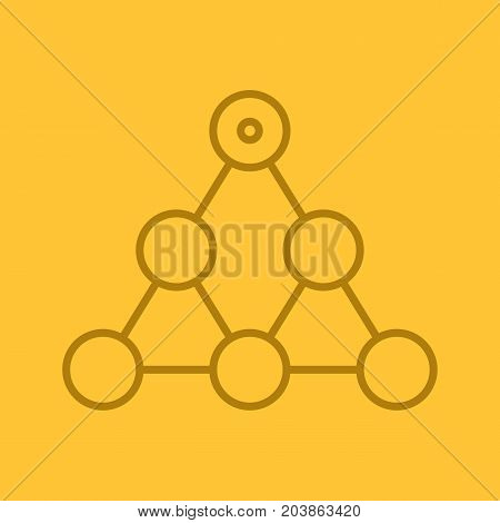 Hierarchy linear icon. Team building and structure concept. Thin line outline symbols on color background. Vector illustration