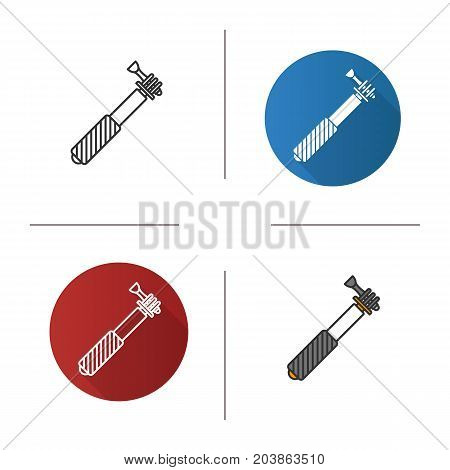 Monopod icon. Flat design, linear and color styles. Selfie stick. Isolated vector illustrations
