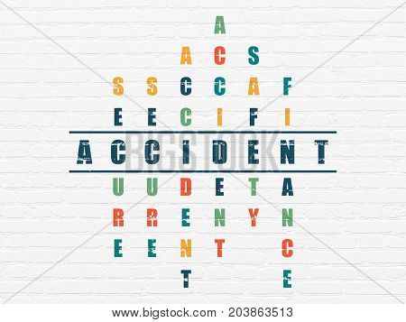 Insurance concept: Painted blue word Accident in solving Crossword Puzzle