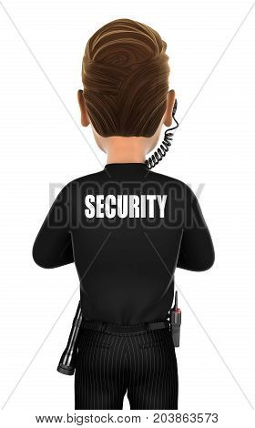 3d security agent back illustration with isolated white background