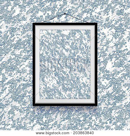 Blue and white textile photo on  snow type textile wall