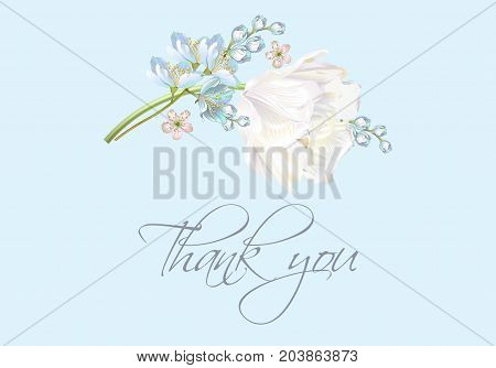 Vector wedding thank you card with white tulip flower on blue background. Can be used as greeting card, floral design for cosmetics, perfume, beauty care products.