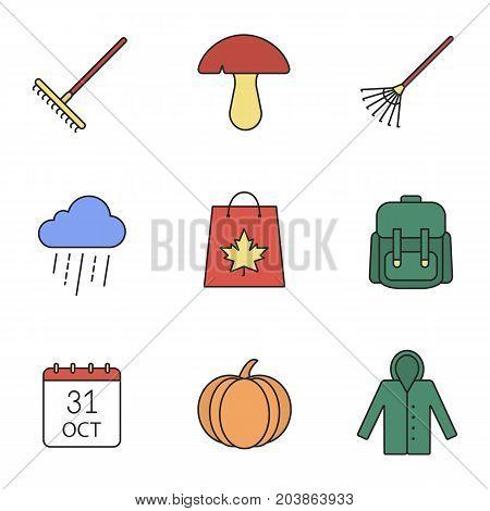 Autumn season color icons set. Rake, mushroom, rainy cloud, backpack, October 31 calendar, pumpkin, raincoat, autumn shopping. Isolated vector illustrations