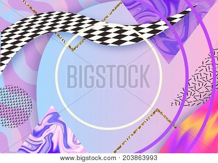 Abstract hipster color composition in trendy 90s style with geometric shapes, frames, fluid and glitter texture, futuristic bright background, template for banner, poster, vector illustration