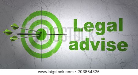 Success law concept: arrows hitting the center of target, Green Legal Advise on wall background, 3D rendering