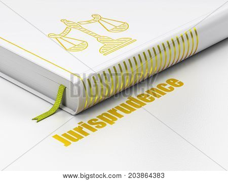 Law concept: closed book with Gold Scales icon and text Jurisprudence on floor, white background, 3D rendering