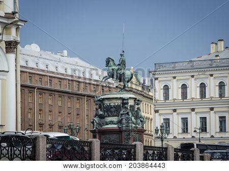 Monument to Nicholas I a bronze equestrian monument of Nicholas I of Russia on St Isaac's Square in Saint Petersburg Russia