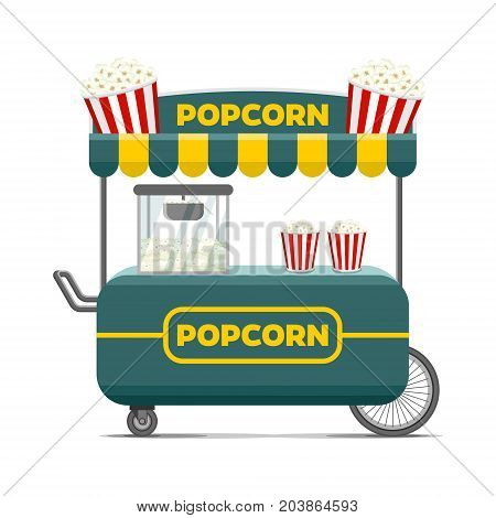 Popcorn street food cart. Colorful vector illustration, cute style, isolated on white background