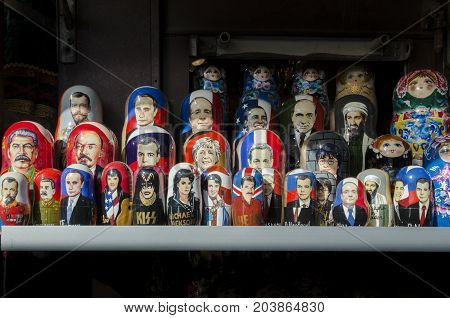 9TH SEPTEMBER 2012, SAINT PETERSBURG, RUSSIA - Wooden Nesting Dolls or Russian Matryoshka Dolls of world leaders and famous people for sale in St Petersburg Russia