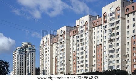 Rows of apartment blocks in Saint Petersburg Russia