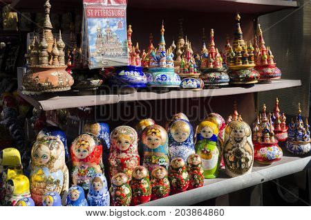 Wooden Nesting Dolls or Russian Matryoshka Dolls for sale in St Petersburg Russia