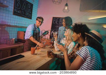 Barmen Making Alcohol Cocktail