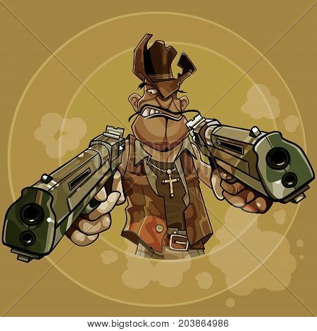 cartoon man in a cowboy hat firing two pistols