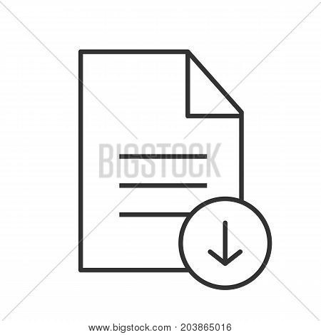 Download document linear icon. Thin line illustration. Text file with download arrow. Contour symbol. Vector isolated outline drawing