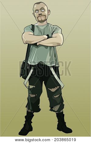 cartoon man standing with arms crossed on chest