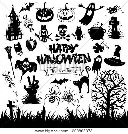 Happy Halloween designs set with various elements of holiday isolated on white background. Vector illustration.