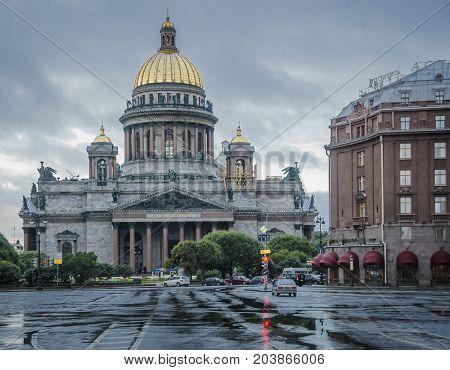 SAINT PETERSBURG RUSSIA 11 SEPTEMBER 2012 - Saint Isaac Cathedral on a rainy day Saint Petersburg Russia