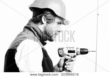 Man With Concentrated Or Angry Face, Isolated On White Background