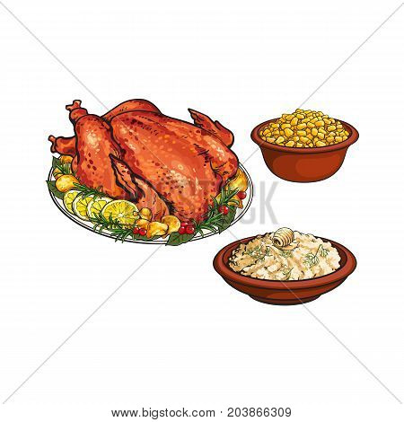 Whole roasted turkey, mashed potato and bowl of sweet corn, Thanksgiving dinner food, sketch vector illustration isolated on white background. Hand drawn roasted turkey, mashed potato an sweet corn