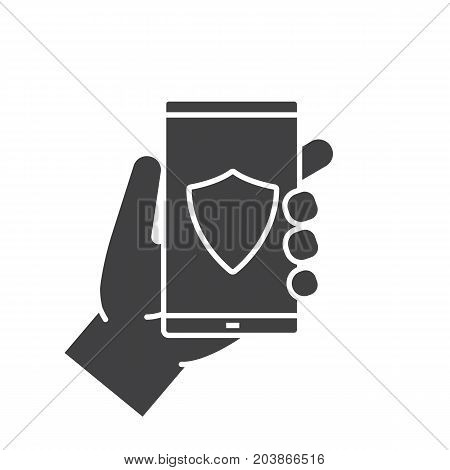 Hand holding smartphone glyph icon. Silhouette symbol. Smart phone antivirus app. Negative space. Vector isolated illustration