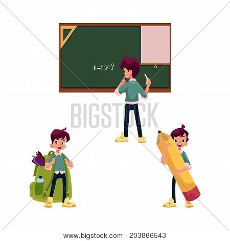 vector flat teenage man, schoolboy set. Male character keeps big pencil in hand, another boy wears schoolbag, teenager stands in front of blackboard. Flat isolated illustration on a white background.