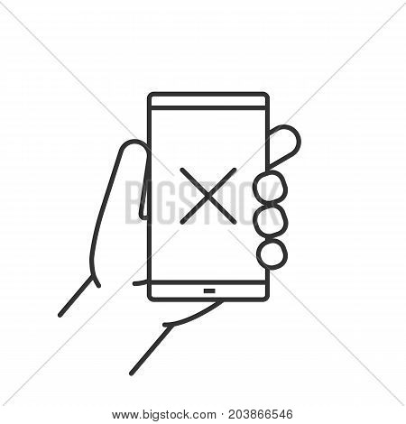 Hand holding smartphone linear icon. Thin line illustration. Smart phone with cross. Contour symbol. Vector isolated outline drawing