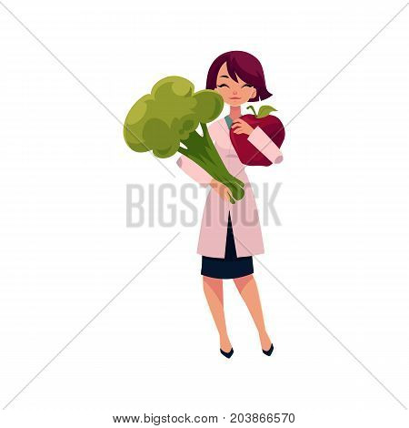 Young woman doctor holding huge apple and broccoli, healthy food concept, cartoon vector illustration isolated on white background. Cartoon woman doctor with huge apple and broccoli, health diet