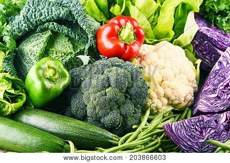 Composition With Variety Of Raw Organic Vegetables.