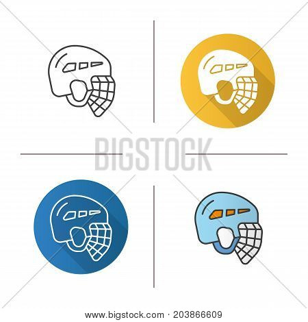 Ice hockey helmet icon. Flat design, linear and color styles. Isolated vector illustrations