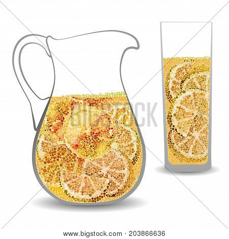 Orange juice in a transparent jug contour and glass decorative mosaic circles