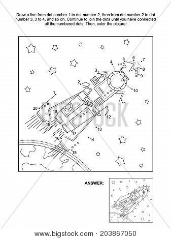 Connect the dots picture puzzle and coloring page, space exploration themed, with rocket, or spaceship, stars, earth. Answer included.
