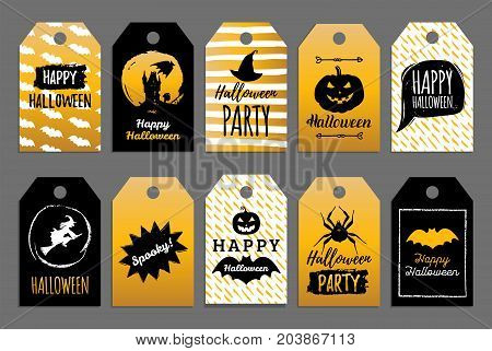 Vector set of tags and labels with Happy Halloween inscription. Festive party cards collection. All Saints Eve background.