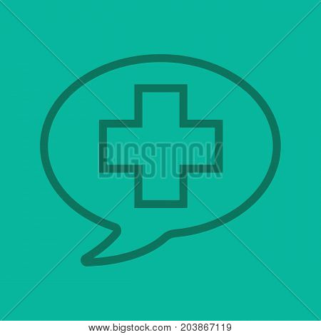 Talk about medicine linear icon. Medical consultation. Chat box with medical cross. Thin line outline symbols on color background. Vector illustration