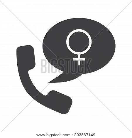 Women's consultation glyph icon. Silhouette symbol. Handset with women gender sign inside speech bubble. Negative space. Vector isolated illustration