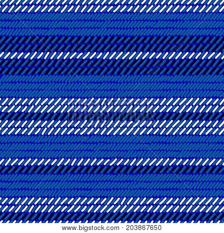 Blue black and white rug woven striped fabric seamless pattern, vector background